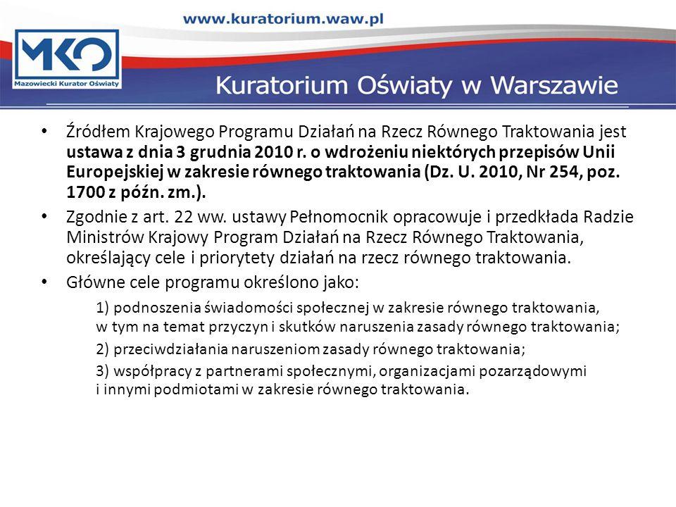 Źródłem Krajowego Programu Działań na Rzecz Równego Traktowania jest ustawa z dnia 3 grudnia 2010 r.
