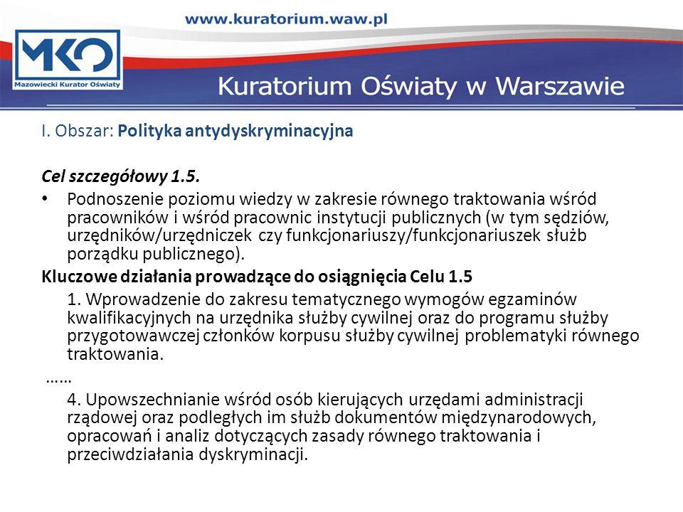 I. Obszar: Polityka antydyskryminacyjna Cel szczegółowy 1.5.
