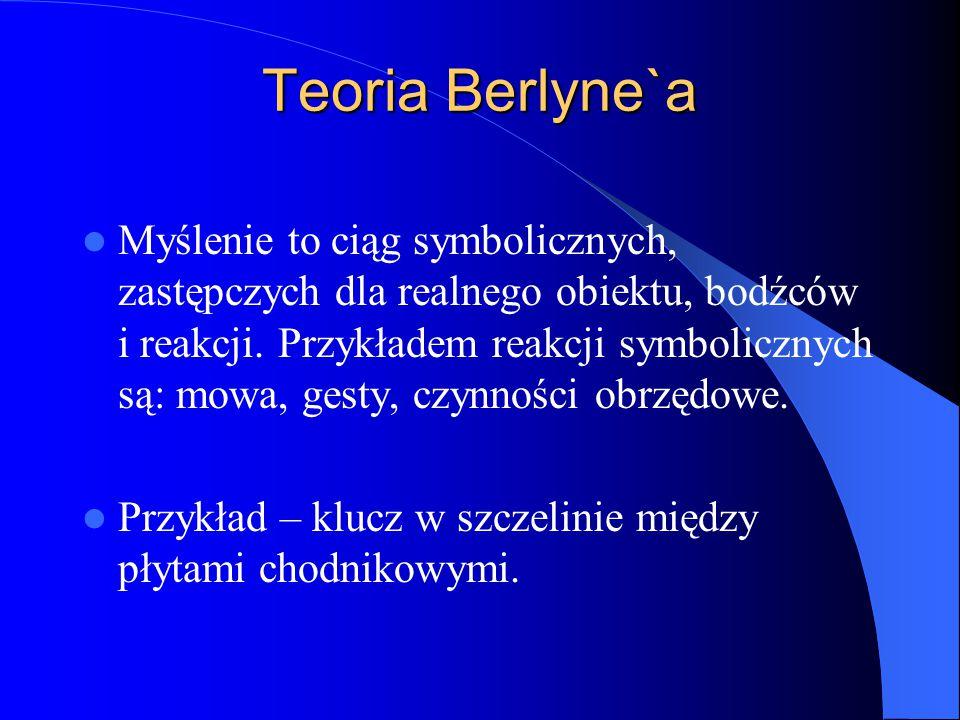 Teoria Berlyne`a Myślenie to ciąg symbolicznych, zastępczych dla realnego obiektu, bodźców i reakcji.