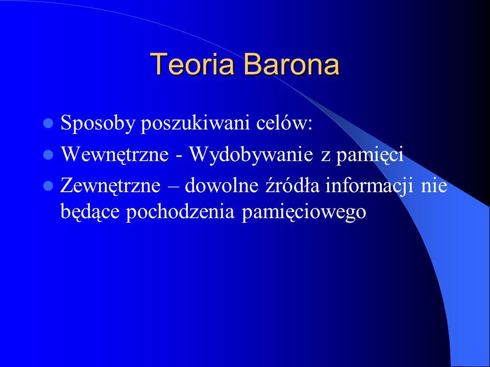 Teoria Barona Sposoby poszukiwani celów: Wewnętrzne - Wydobywanie z pamięci Zewnętrzne – dowolne źródła informacji nie będące pochodzenia pamięciowego