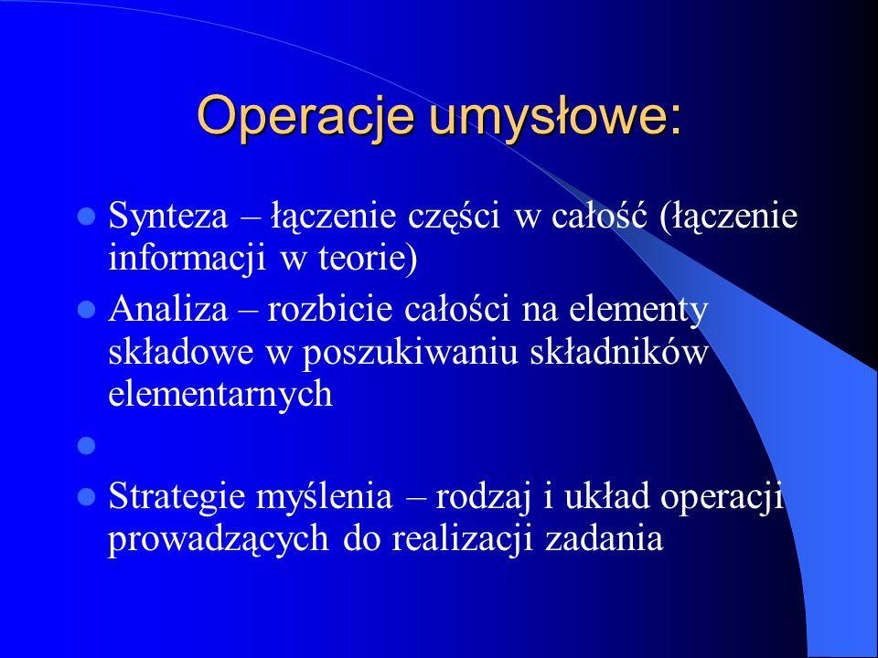 Operacje umysłowe: Synteza – łączenie części w całość (łączenie informacji w teorie) Analiza – rozbicie całości na elementy składowe w poszukiwaniu składników elementarnych Strategie myślenia – rodzaj i układ operacji prowadzących do realizacji zadania