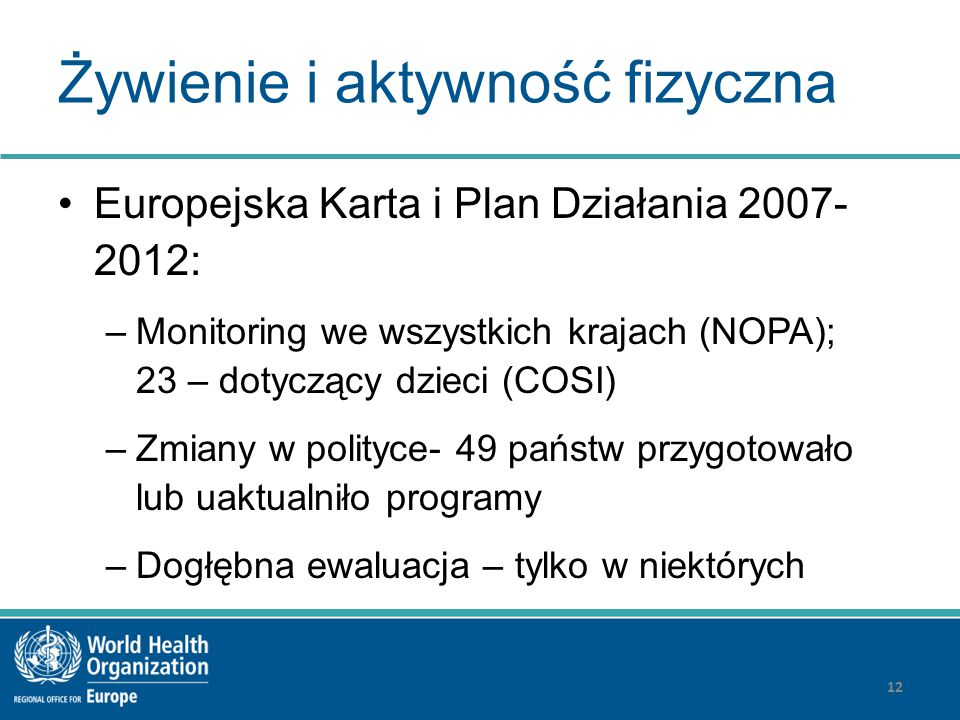 Żywienie i aktywność fizyczna Europejska Karta i Plan Działania 2007- 2012: –Monitoring we wszystkich krajach (NOPA); 23 – dotyczący dzieci (COSI) –Zm
