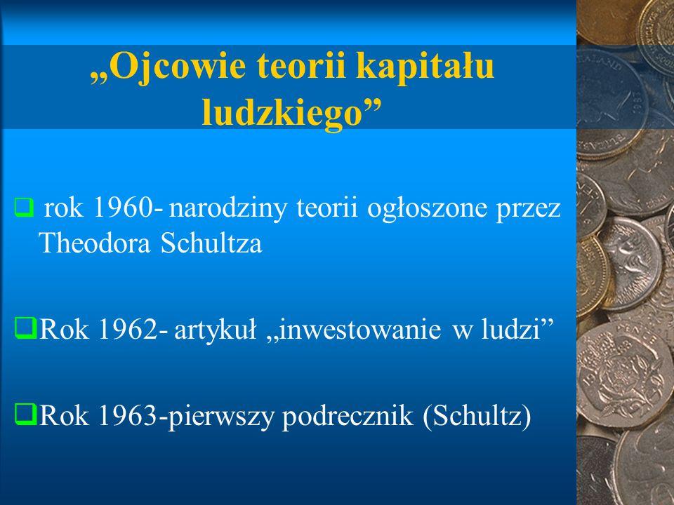 """""""Ojcowie teorii kapitału ludzkiego  rok 1960- narodziny teorii ogłoszone przez Theodora Schultza  Rok 1962- artykuł """"inwestowanie w ludzi  Rok 1963-pierwszy podrecznik (Schultz)"""
