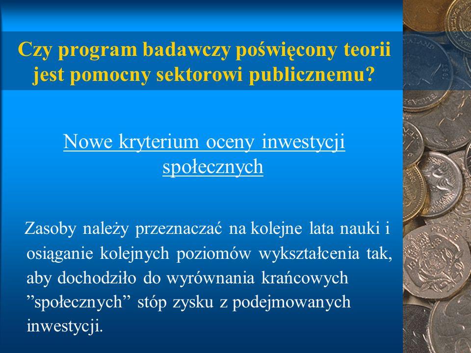 Czy program badawczy poświęcony teorii jest pomocny sektorowi publicznemu.