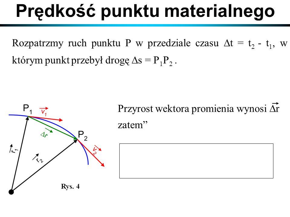 Rozpatrzmy ruch punktu P w przedziale czasu  t = t 2 - t 1, w którym punkt przebył drogę  s = P 1 P 2. Prędkość punktu materialnego Przyrost wektora