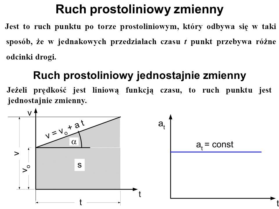 Jeżeli prędkość jest liniową funkcją czasu, to ruch punktu jest jednostajnie zmienny. Ruch prostoliniowy jednostajnie zmienny Ruch prostoliniowy zmien