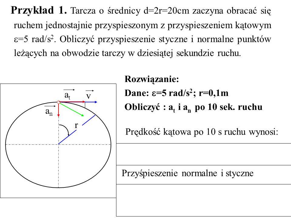 Przykład 1. Tarcza o średnicy d=2r=20cm zaczyna obracać się ruchem jednostajnie przyspieszonym z przyspieszeniem kątowym  =5 rad/s 2. Obliczyć przysp