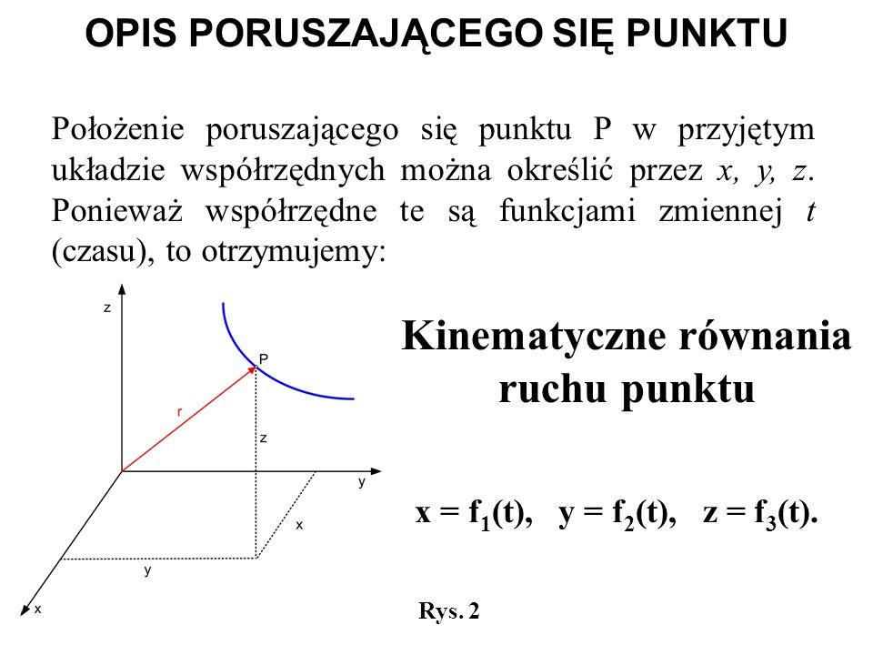 x = f 1 (t), y = f 2 (t), z = f 3 (t). Rys. 2 Położenie poruszającego się punktu P w przyjętym układzie współrzędnych można określić przez x, y, z. Po
