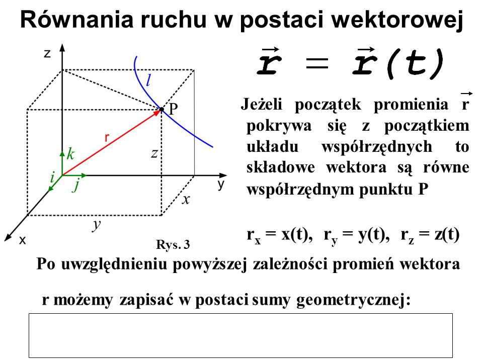 Jeżeli początek promienia r pokrywa się z początkiem układu współrzędnych to składowe wektora są równe współrzędnym punktu P Równania ruchu w postaci