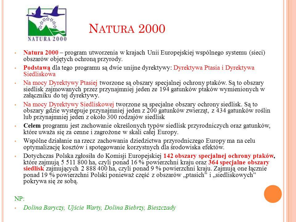 N ATURA 2000 Natura 2000 – program utworzenia w krajach Unii Europejskiej wspólnego systemu (sieci) obszarów objętych ochroną przyrody. Podstawą dla t
