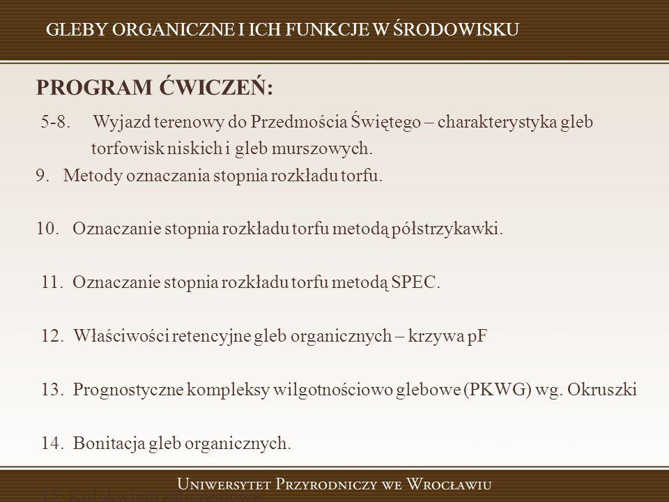 W YKAZ LITERATURY PODSTAWOWEJ : Ilnicki P.Torfowiska i Torf.