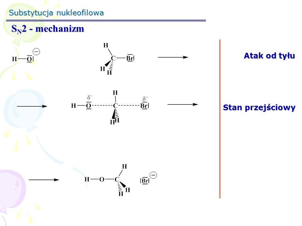 Substytucja nukleofilowa S N 2 - mechanizm Atak od tyłu Stan przejściowy