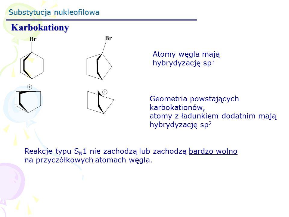 Substytucja nukleofilowa Trwałość karbokationów stabilizacja rozproszenie ładunku destabilizacja zwiększenie ładunku Czynniki wewnętrzne Czynniki zewnętrzne