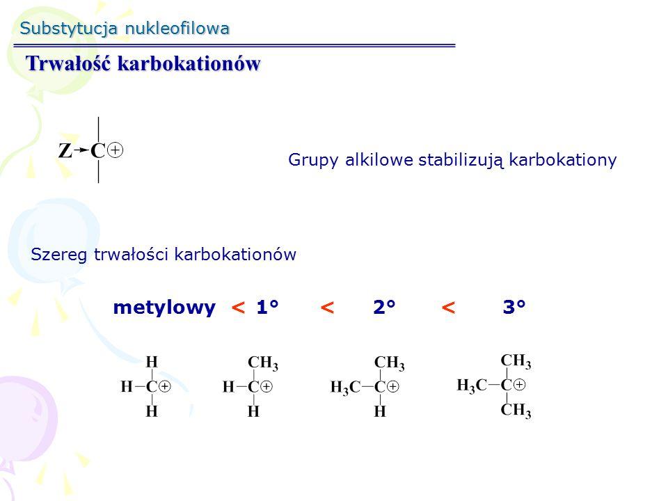 Substytucja nukleofilowa Trwałość karbokationów Hiperkoniugacja