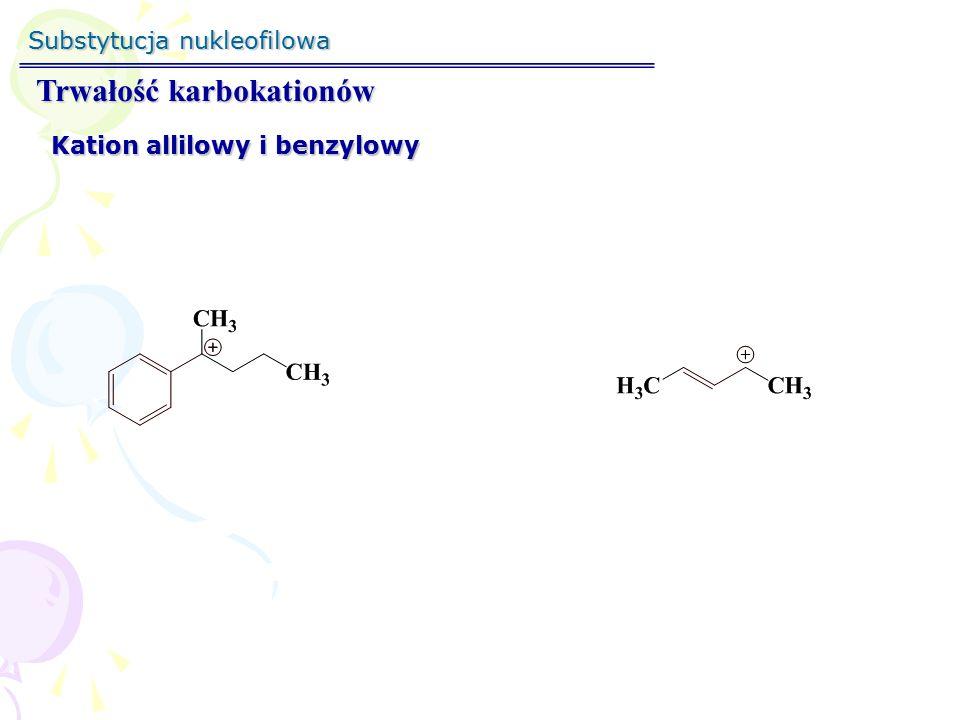 Substytucja nukleofilowa Trwałość karbokationów - przegrupowanie Przesunięcie 1,2 Whitmora 1°1° 2°2° 1°1° 3°3°