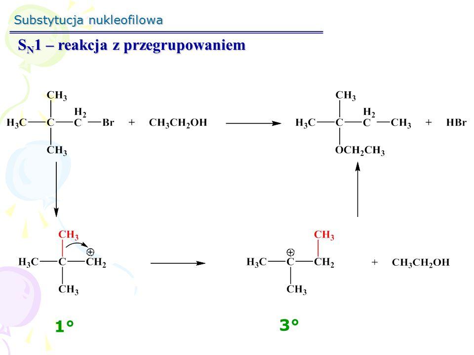 Substytucja nukleofilowa S N 1 – stereochemia reakcji S S R Optycznie czystyDwa enancjomery Retencja konfiguracji Inwersja konfiguracji