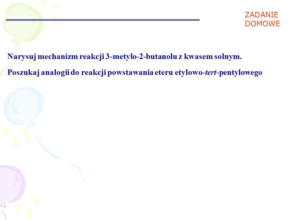 Substytucja nukleofilowa S N 2 - otrzymywanie halogenków alkilowych z alkoholi Reakcja katalizowana przez kwas Metanol i alkohole 1° reagują z halogenowodorami w reakcji S N 2