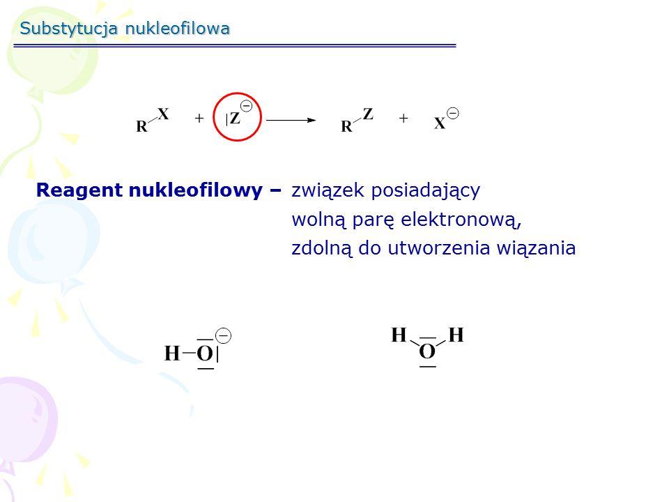 Substytucja nukleofilowa Kinetyka reakcji SZYBKOŚĆ REAKCJI = CZĘSTOTLIWOŚĆ ZDARZEŃ  CZYNNIK ENERGETYCZNY  WSPÓŁCZYNNIK PRAWDOPODOBIEŃSTWA Powiązany z E akt.