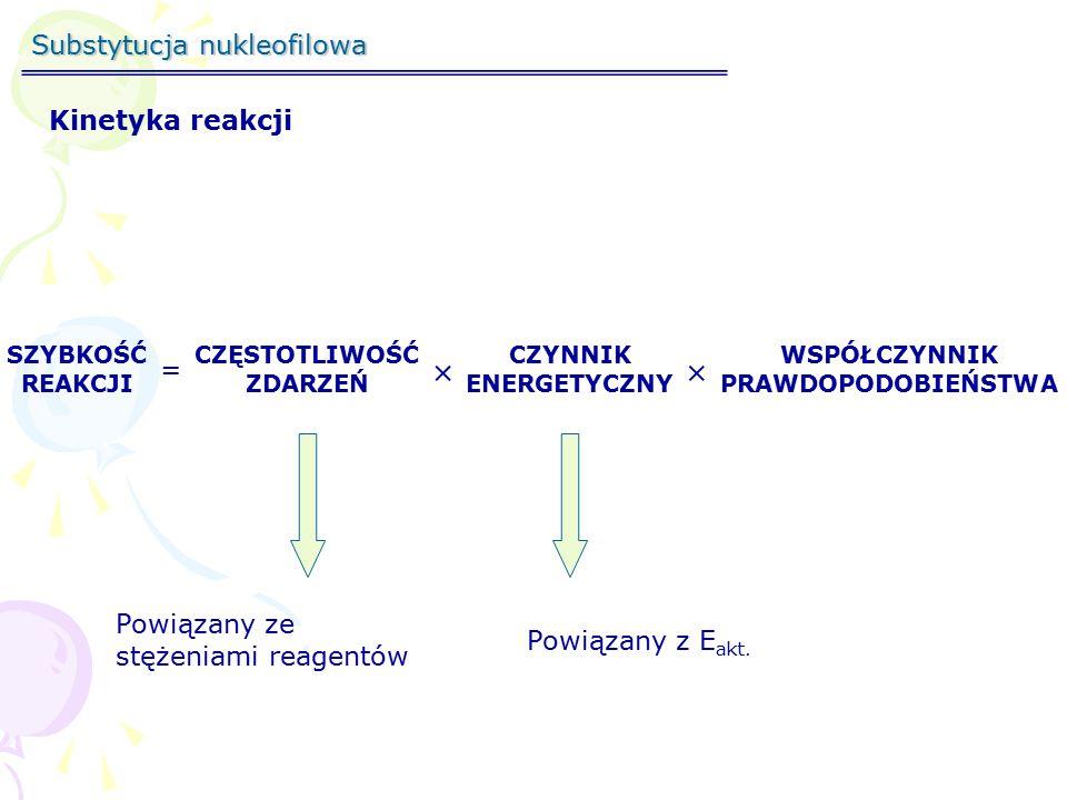 Substytucja nukleofilowa SZYBKOŚĆ REAKCJI = CZĘSTOTLIWOŚĆ ZDARZEŃ  CZYNNIK ENERGETYCZNY  WSPÓŁCZYNNIK PRAWDOPODOBIEŃSTWA 2 SZYBKOŚĆ REAKCJI =k[CH 3 Br][OH - ]  2  2 SZYBKOŚĆ REAKCJI =k[CH 3 Br][OH - ]  2  ½ SZYBKOŚĆ REAKCJI =k[CH 3 Br][OH - ]  ½