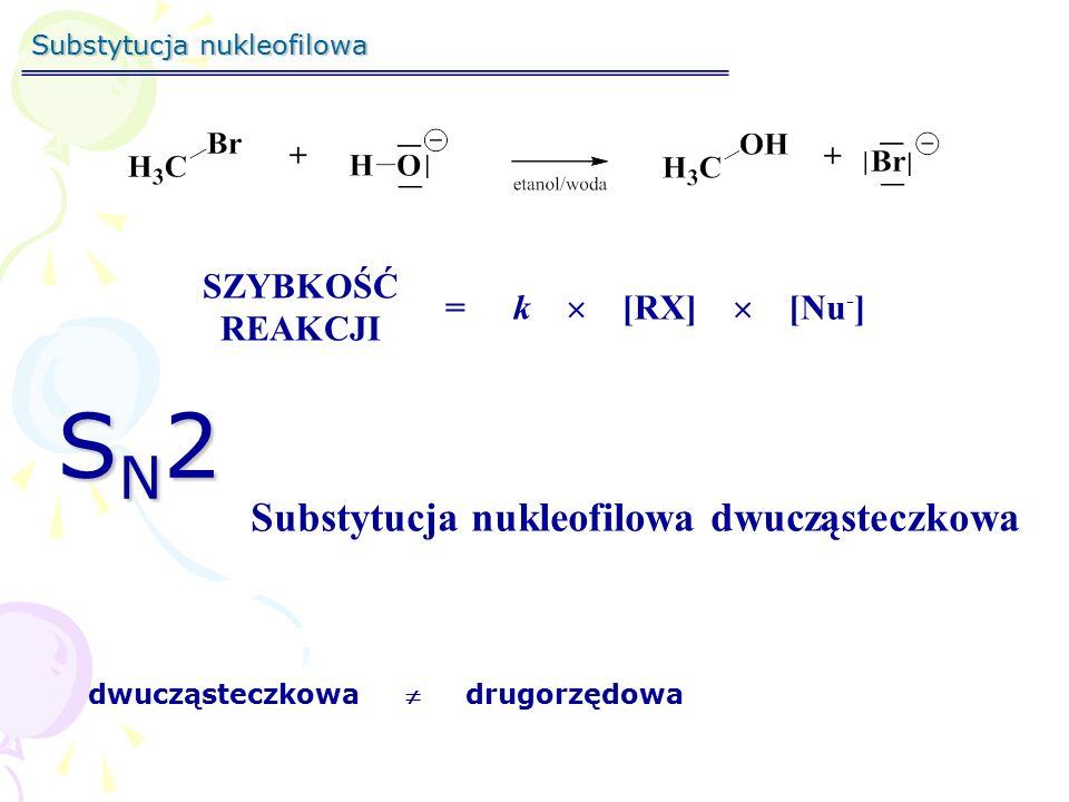 Substytucja nukleofilowa SZYBKOŚĆ REAKCJI =k[RX][Nu - ]  SN2SN2SN2SN2 Substytucja nukleofilowa dwucząsteczkowa dwucząsteczkowa  drugorzędowa