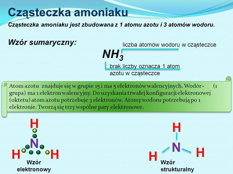 liczba atomów wodoru w cząsteczce brak liczby oznacza 1 atom azotu w cząsteczce Atom azotu znajduje się w grupie 15 i ma 5 elektronów walencyjnych. Wo