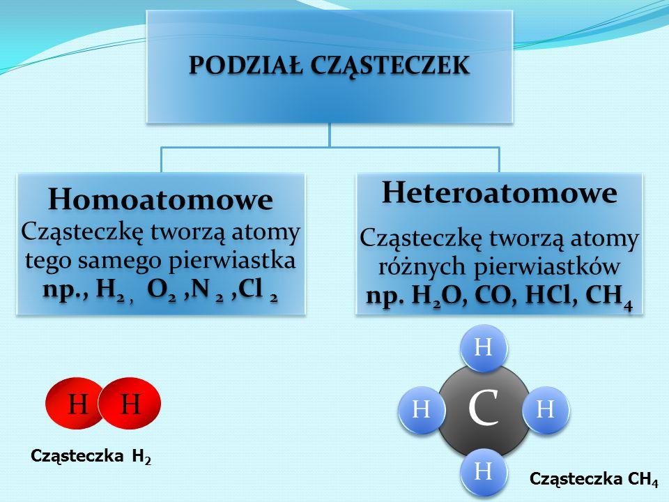 PODZIAŁ CZĄSTECZEK np., H2, O2,N 2,Cl 2 Homoatomowe Cząsteczkę tworzą atomy tego samego pierwiastka np., H2, O2,N 2,Cl 2 Heteroatomowe np. H2O, CO, HC