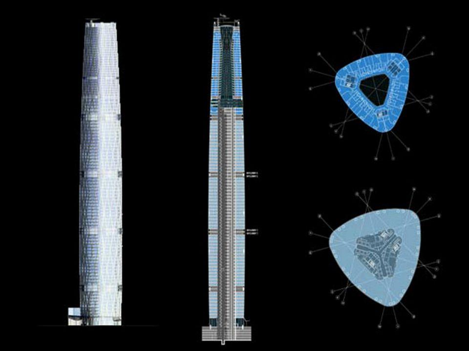 Geometria konstrukcji Trójkątny plan o zakrzywionych bokach Obiekt rozszerza się do1/3 wysokości w wyższych kondygnacjach zwęża się tworząc krzywiznę pionową Pionowa krzywizna to fragment okręgu o promieniu 5,1 km Długości boków przekroju poprzecznego: 71- dłuższy, 10- krótszy.