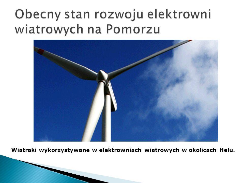 Wiatraki wykorzystywane w elektrowniach wiatrowych w okolicach Helu.