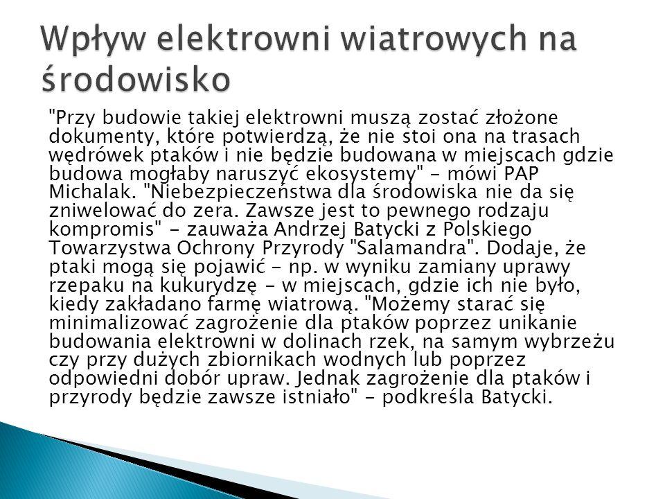 Przy budowie takiej elektrowni muszą zostać złożone dokumenty, które potwierdzą, że nie stoi ona na trasach wędrówek ptaków i nie będzie budowana w miejscach gdzie budowa mogłaby naruszyć ekosystemy - mówi PAP Michalak.