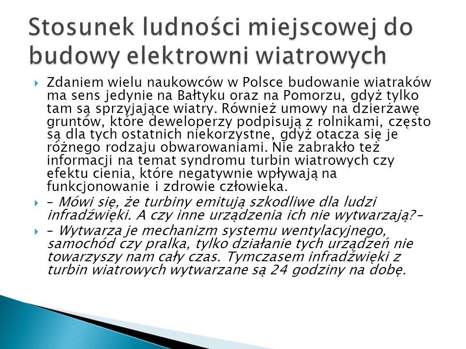  Zdaniem wielu naukowców w Polsce budowanie wiatraków ma sens jedynie na Bałtyku oraz na Pomorzu, gdyż tylko tam są sprzyjające wiatry.