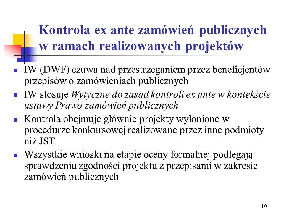 9 Najczęściej popełniane błędy Wniosek o dofinansowanie: Pkt. 1.8 - udział wykonawców Pkt. 1.14 – zgodność projektu z zamówieniami publicznymi Pozycje