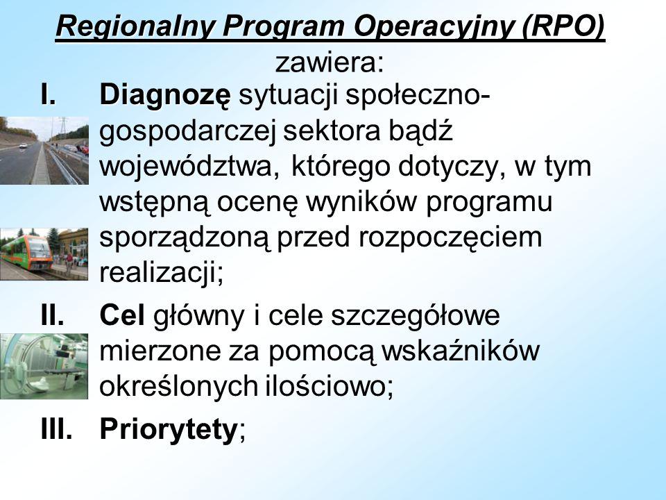 Regionalny Program Operacyjny (RPO) Regionalny Program Operacyjny (RPO) zawiera: I.Diagnozę I.Diagnozę sytuacji społeczno- gospodarczej sektora bądź województwa, którego dotyczy, w tym wstępną ocenę wyników programu sporządzoną przed rozpoczęciem realizacji; II.Cel główny i cele szczegółowe mierzone za pomocą wskaźników określonych ilościowo; III.Priorytety;