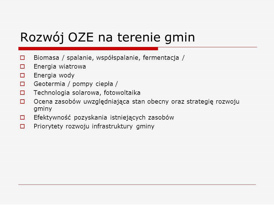 Rozwój OZE na terenie gmin  Biomasa / spalanie, współspalanie, fermentacja /  Energia wiatrowa  Energia wody  Geotermia / pompy ciepła /  Technol