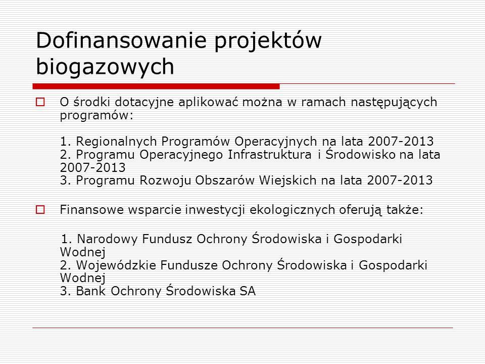 Dofinansowanie projektów biogazowych  O środki dotacyjne aplikować można w ramach następujących programów: 1. Regionalnych Programów Operacyjnych na