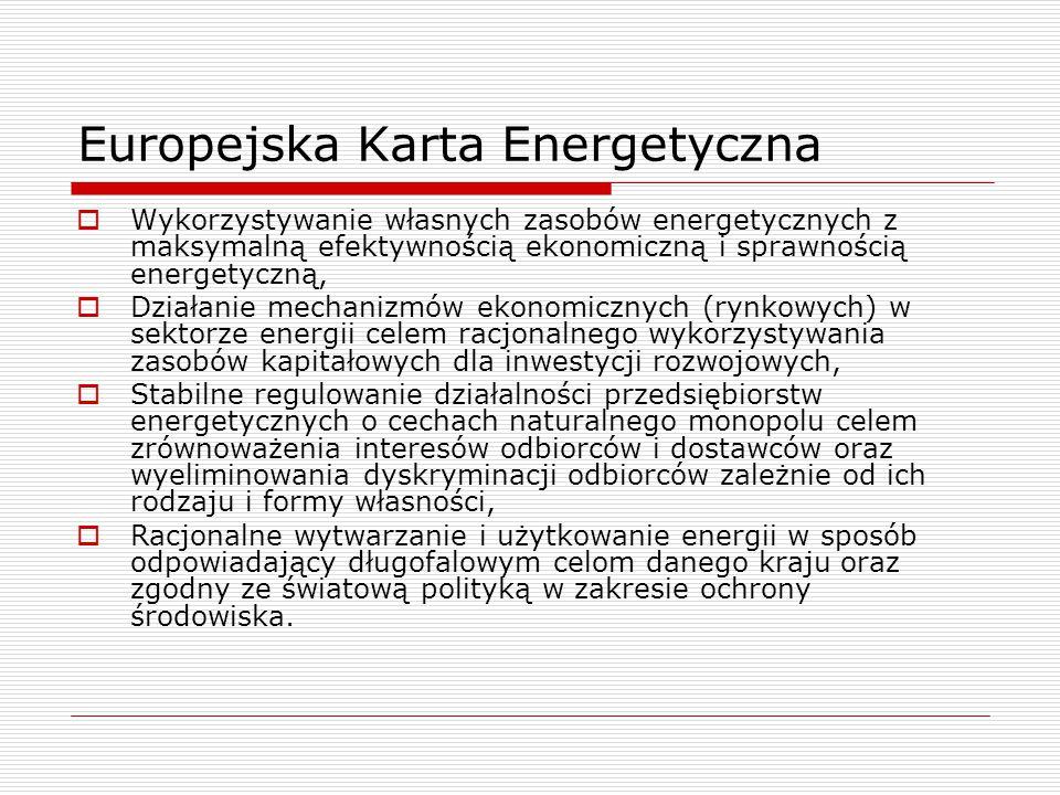 Europejska Karta Energetyczna  Wykorzystywanie własnych zasobów energetycznych z maksymalną efektywnością ekonomiczną i sprawnością energetyczną,  Działanie mechanizmów ekonomicznych (rynkowych) w sektorze energii celem racjonalnego wykorzystywania zasobów kapitałowych dla inwestycji rozwojowych,  Stabilne regulowanie działalności przedsiębiorstw energetycznych o cechach naturalnego monopolu celem zrównoważenia interesów odbiorców i dostawców oraz wyeliminowania dyskryminacji odbiorców zależnie od ich rodzaju i formy własności,  Racjonalne wytwarzanie i użytkowanie energii w sposób odpowiadający długofalowym celom danego kraju oraz zgodny ze światową polityką w zakresie ochrony środowiska.