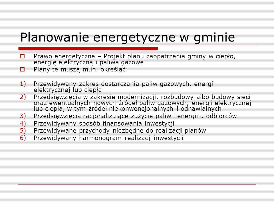 Planowanie energetyczne w gminie  Prawo energetyczne – Projekt planu zaopatrzenia gminy w ciepło, energię elektryczną i paliwa gazowe  Plany te muszą m.in.