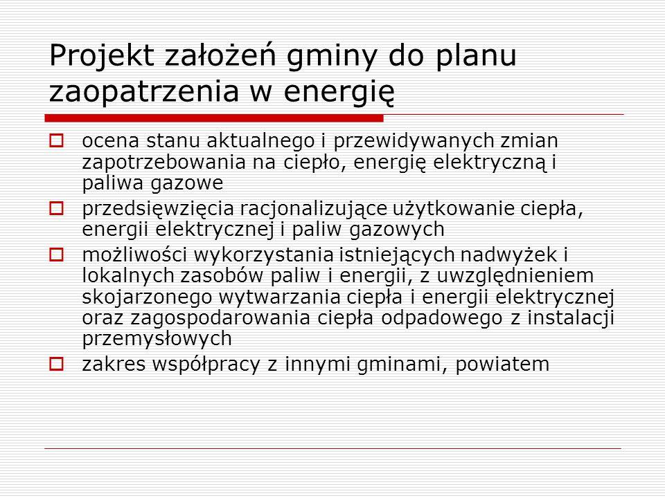 Projekt założeń gminy do planu zaopatrzenia w energię  ocena stanu aktualnego i przewidywanych zmian zapotrzebowania na ciepło, energię elektryczną i paliwa gazowe  przedsięwzięcia racjonalizujące użytkowanie ciepła, energii elektrycznej i paliw gazowych  możliwości wykorzystania istniejących nadwyżek i lokalnych zasobów paliw i energii, z uwzględnieniem skojarzonego wytwarzania ciepła i energii elektrycznej oraz zagospodarowania ciepła odpadowego z instalacji przemysłowych  zakres współpracy z innymi gminami, powiatem
