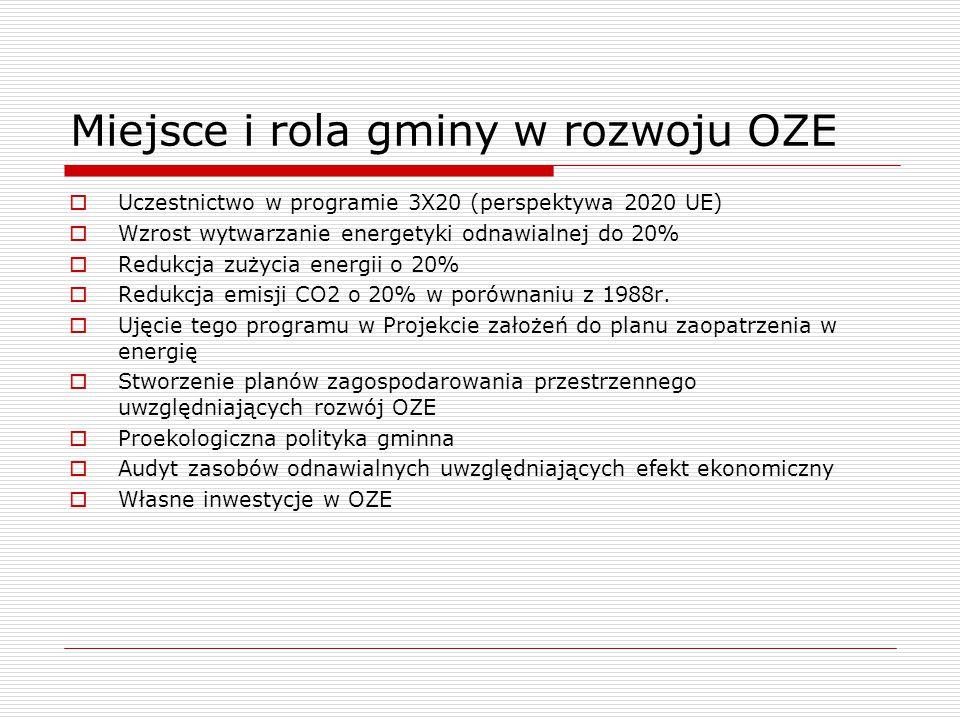 Miejsce i rola gminy w rozwoju OZE  Uczestnictwo w programie 3X20 (perspektywa 2020 UE)  Wzrost wytwarzanie energetyki odnawialnej do 20%  Redukcja