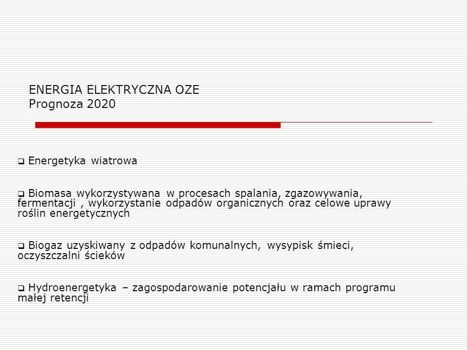 ENERGIA ELEKTRYCZNA OZE Prognoza 2020  Energetyka wiatrowa  Biomasa wykorzystywana w procesach spalania, zgazowywania, fermentacji, wykorzystanie od