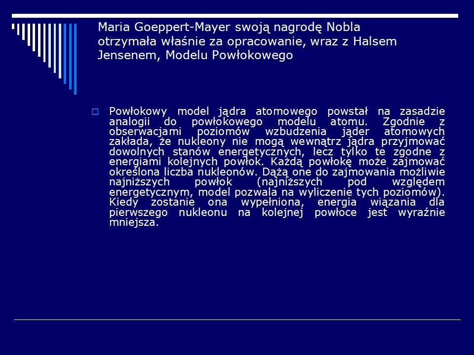 Maria Goeppert-Mayer swoją nagrodę Nobla otrzymała właśnie za opracowanie, wraz z Halsem Jensenem, Modelu Powłokowego  Powłokowy model jądra atomoweg