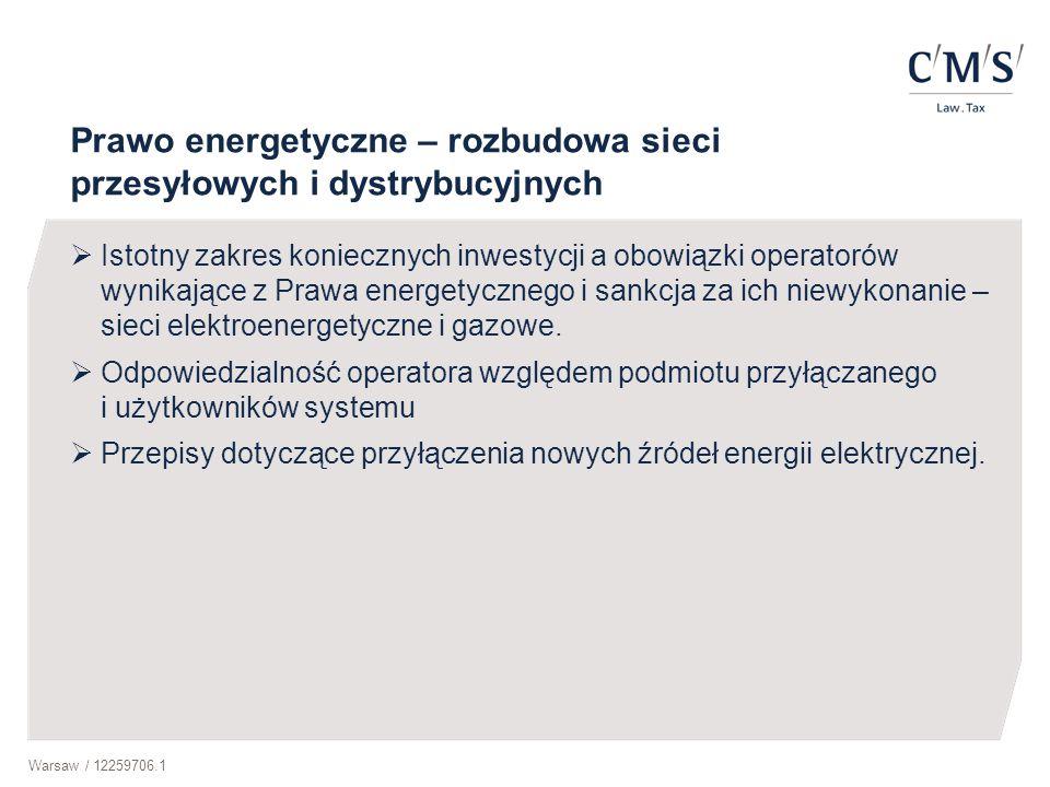 Warsaw / 12259706.1 Prawo energetyczne – rozbudowa sieci przesyłowych i dystrybucyjnych  Istotny zakres koniecznych inwestycji a obowiązki operatorów wynikające z Prawa energetycznego i sankcja za ich niewykonanie – sieci elektroenergetyczne i gazowe.