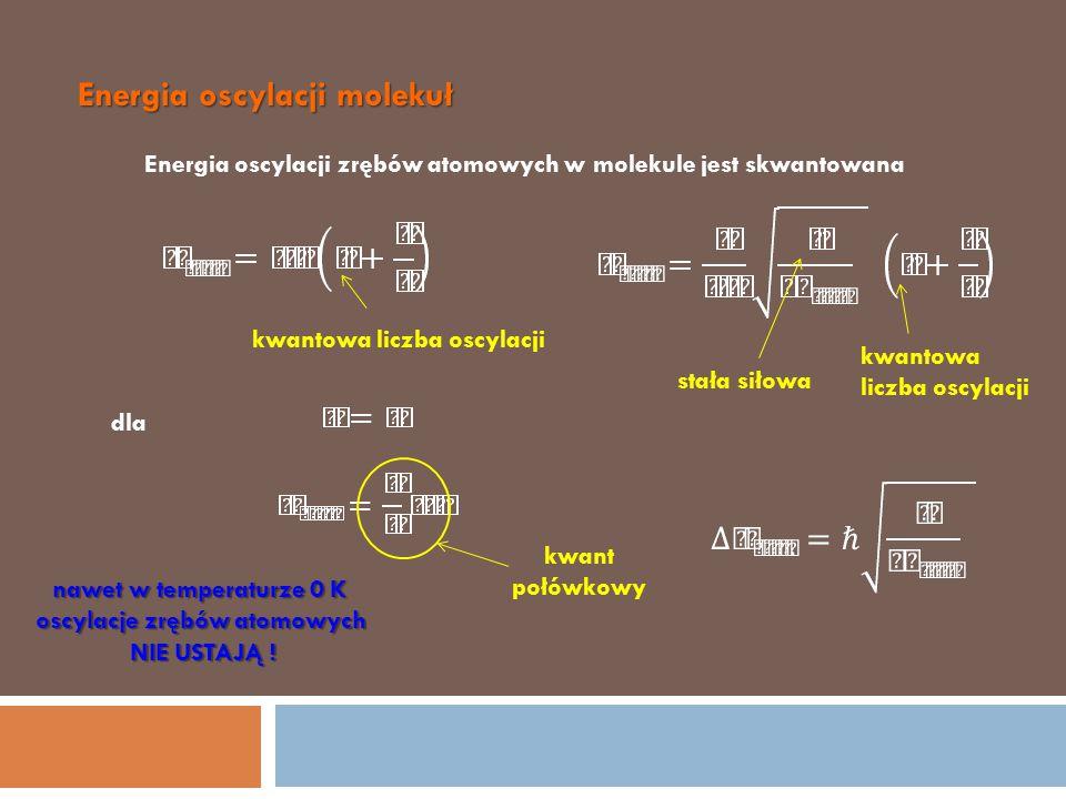Energia oscylacji molekuł Energia oscylacji zrębów atomowych w molekule jest skwantowana kwantowa liczba oscylacji stała siłowa kwantowa liczba oscyla