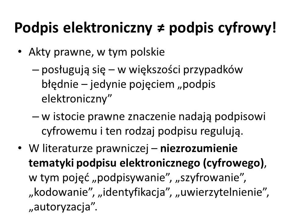 """Podpis elektroniczny ≠ podpis cyfrowy! Akty prawne, w tym polskie – posługują się – w większości przypadków błędnie – jedynie pojęciem """"podpis elektro"""