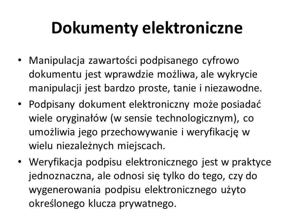 Dokumenty elektroniczne Manipulacja zawartości podpisanego cyfrowo dokumentu jest wprawdzie możliwa, ale wykrycie manipulacji jest bardzo proste, tani