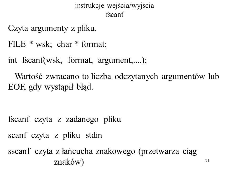 31 instrukcje wejścia/wyjścia fscanf Czyta argumenty z pliku.