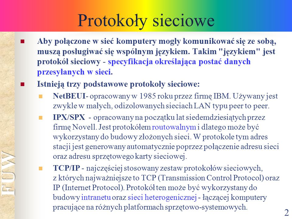 3 Protokół TCP/IP Warstwa dostępu do sieci ARP, protokoły łącza Warstwa Internetu IP, ICMP, IGMP Warstwa hosta z hostem TCP, UDP Warstwa procesu/aplikacji HTTP, FTP, Telnet, e-mail, itp.