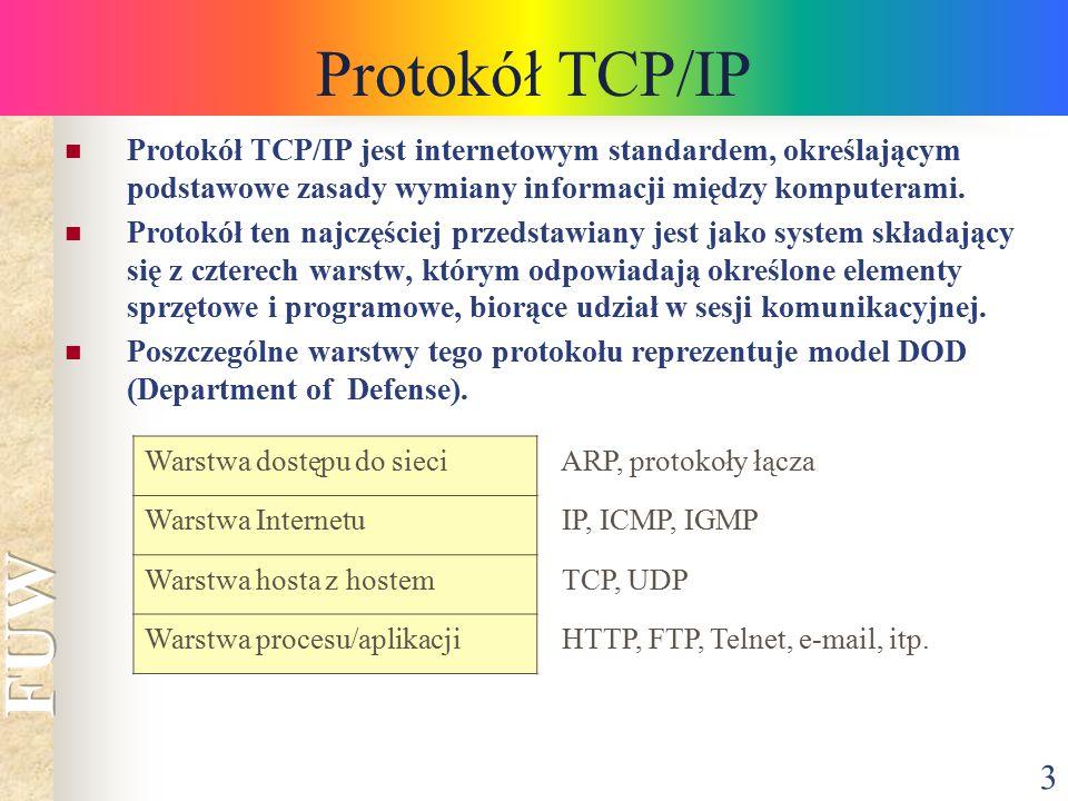 3 Protokół TCP/IP Warstwa dostępu do sieci ARP, protokoły łącza Warstwa Internetu IP, ICMP, IGMP Warstwa hosta z hostem TCP, UDP Warstwa procesu/aplik