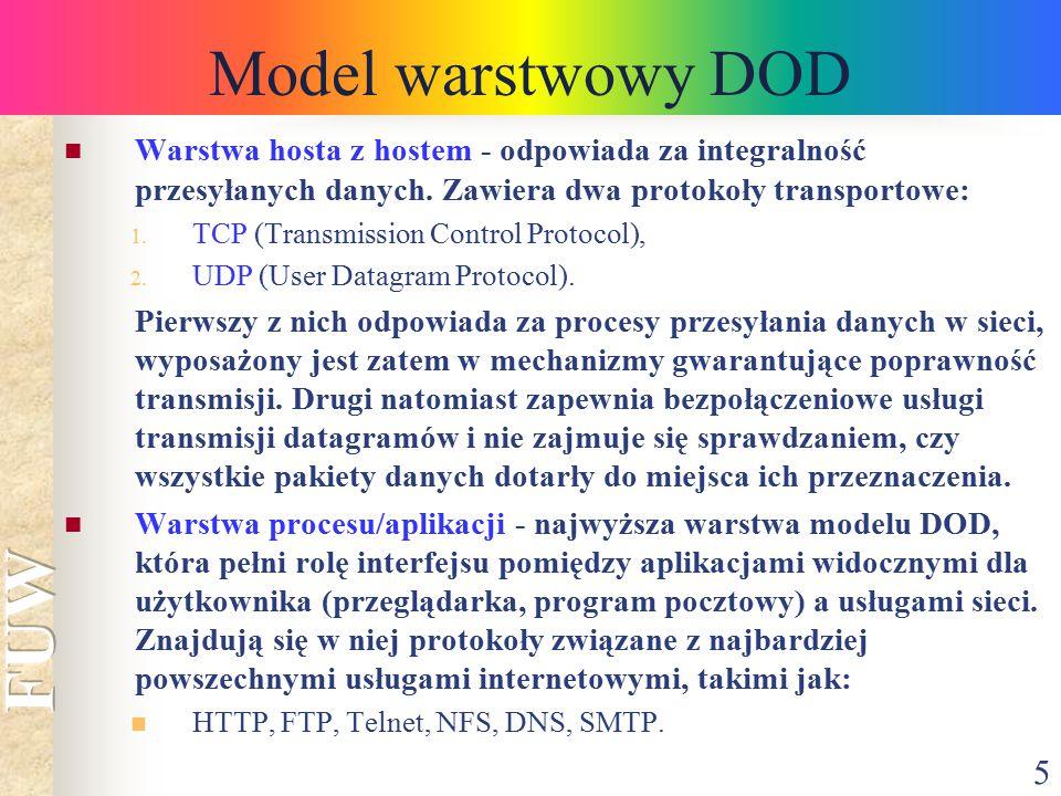5 Model warstwowy DOD Warstwa hosta z hostem - odpowiada za integralność przesyłanych danych. Zawiera dwa protokoły transportowe: 1. TCP (Transmission