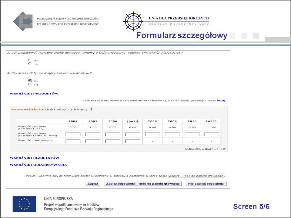 Screen 5/6 Formularz szczegółowy