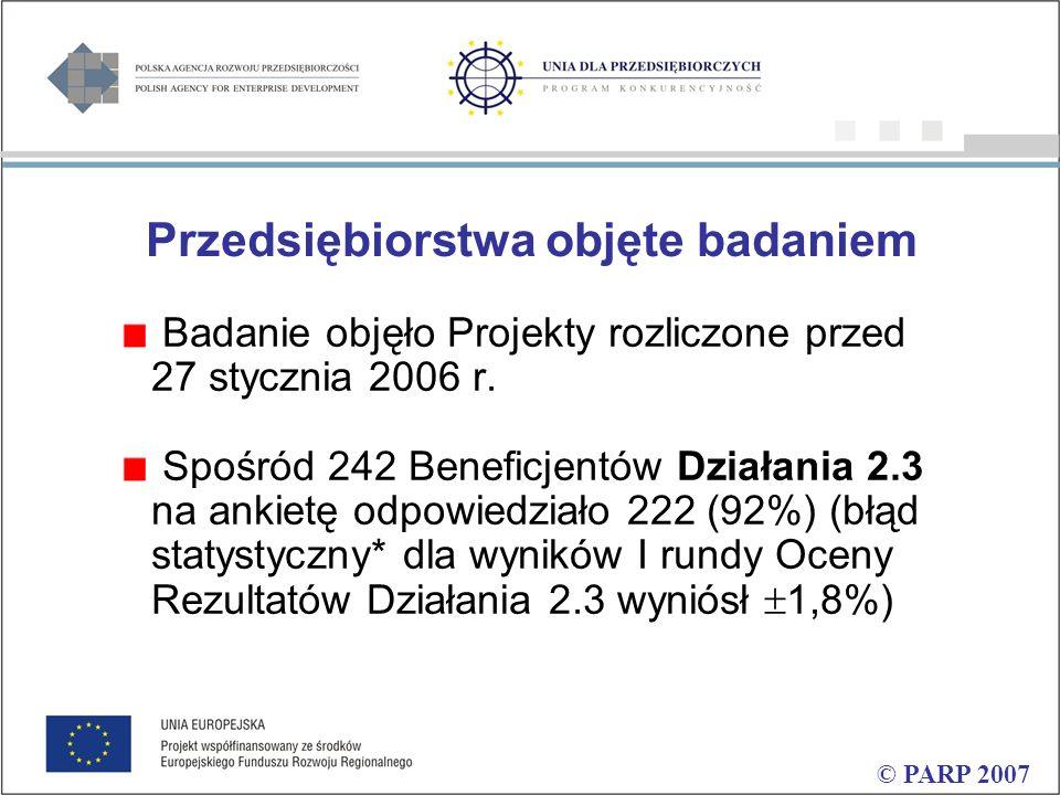 Przedsiębiorstwa objęte badaniem Badanie objęło Projekty rozliczone przed 27 stycznia 2006 r.